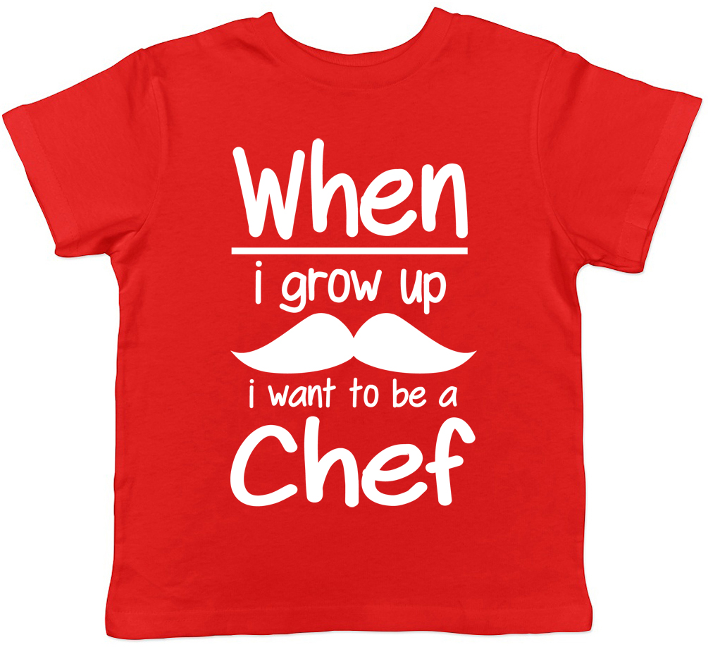 When I Grow Up I want to be a Chef Childrens Kids T-Shirt Boys Girls Cooking Tee