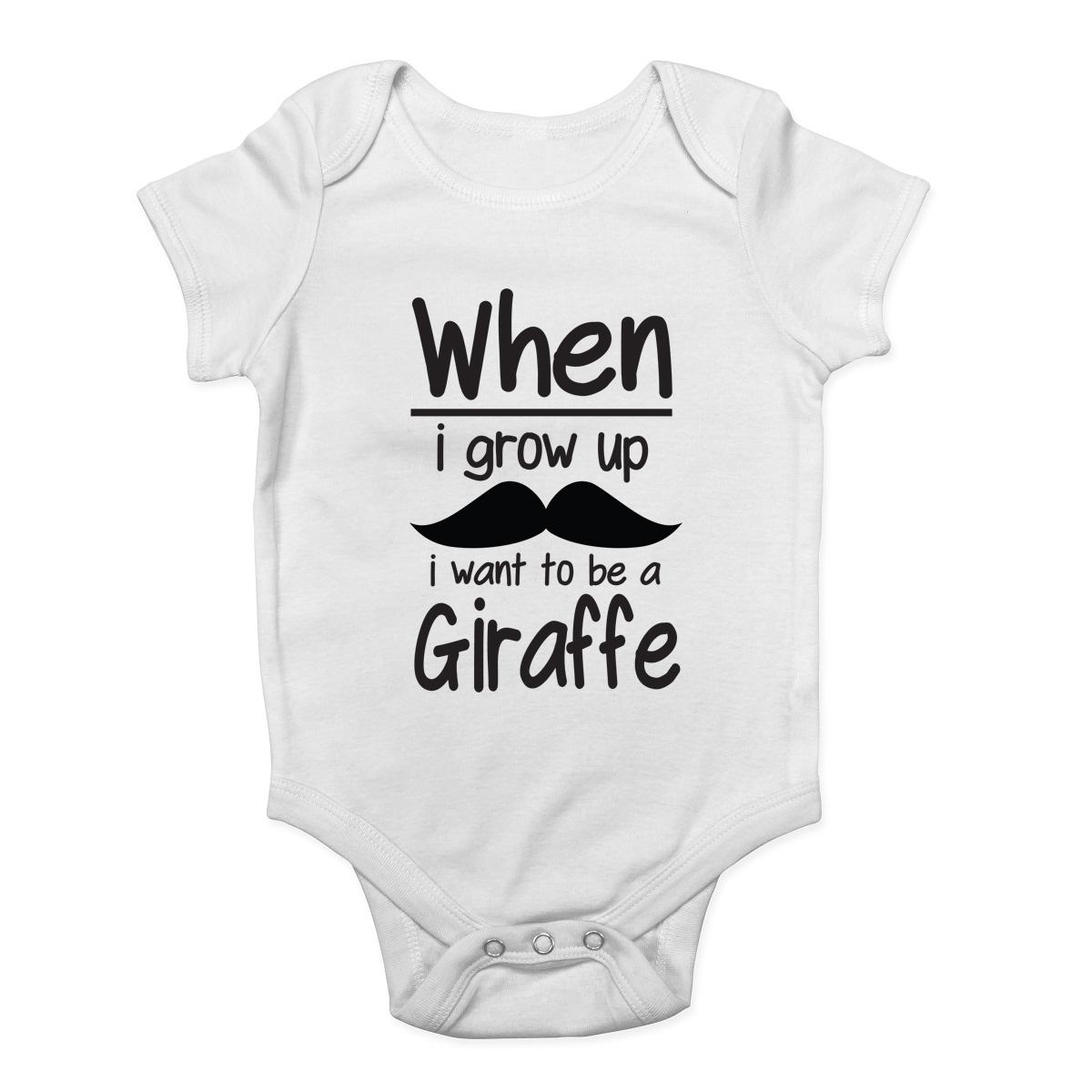 Quand je grandir je veux être une girafe Baby Grow Vest Body Garçons Filles Cadeau