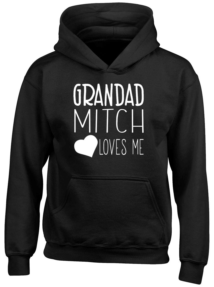 Personalised Any Name My Grandad Loves Me Boys Girls Childrens Hooded Top Hoodie