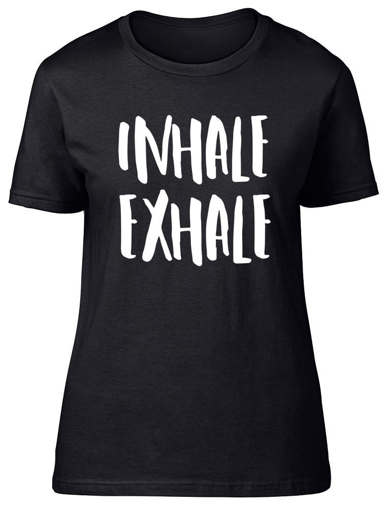Inhale Exhale Yoga Exercise Relaxation Womens Ladies T-Shirt Tee  228d72f709