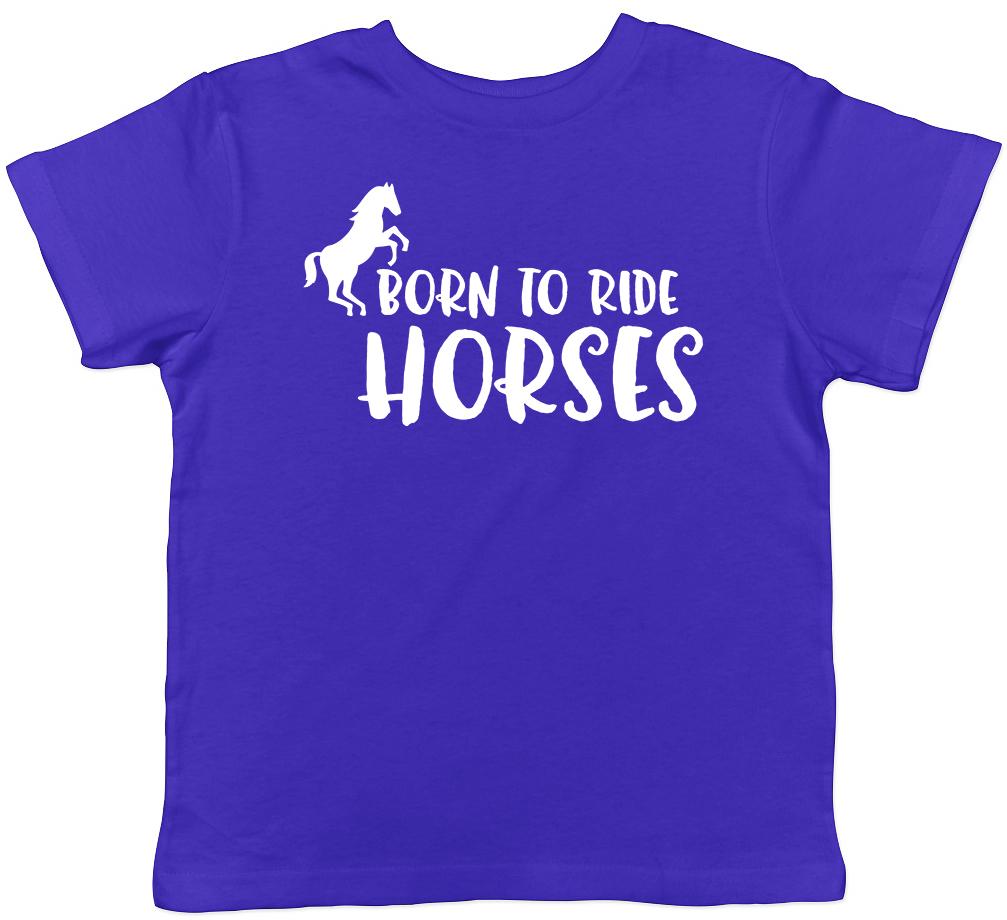 Born to Ride Horses Childrens Kids Girls Boys T-Shirt Tee
